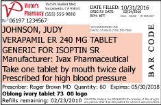 Sample prescription label 12 pt font size