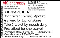 Sampple prescription label 10 pt font size