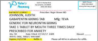 Sampple prescription label 12 pt font size